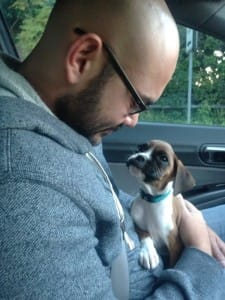 This tiny puppy can't believe how lucky he is.